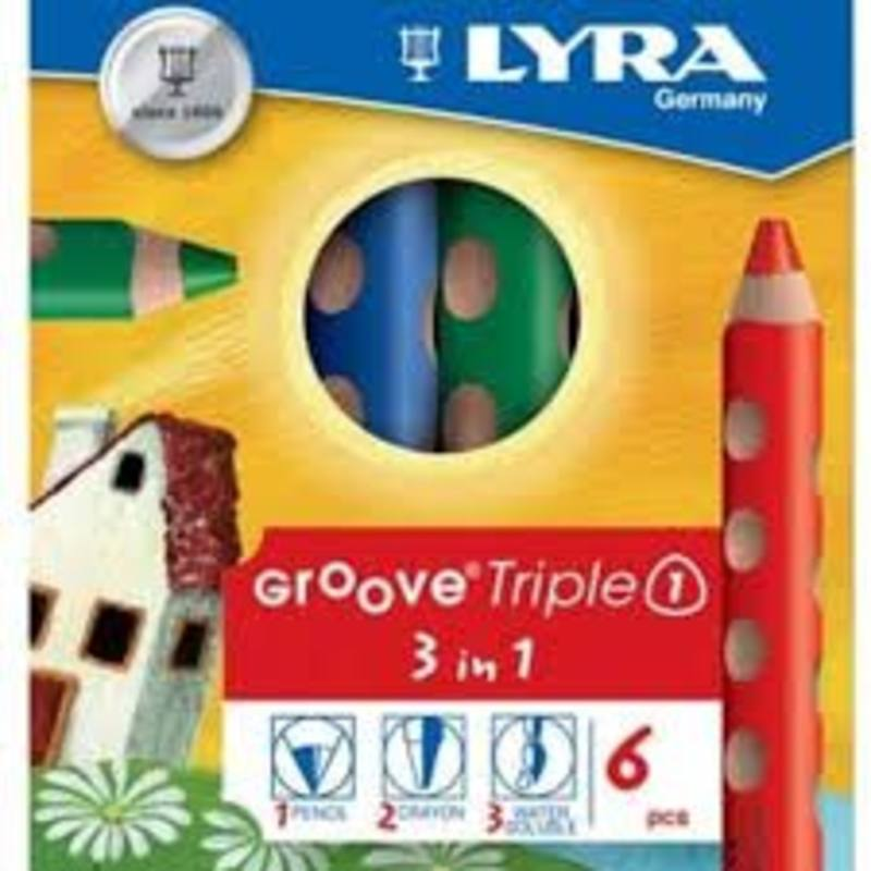 Lyra GrooveTripleOne a Colour Pencil Watercolour and Wax Crayon all in one 6 assorted