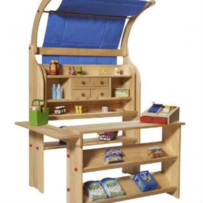 Gluckskafer Wooden Play Shop complete w Arch + Blue Canopy SPECIAL ORDER