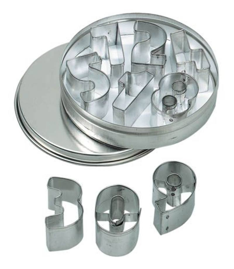 Mini Cookie Cutter Set - 10 Numbers (0 - 9) in Metal Box