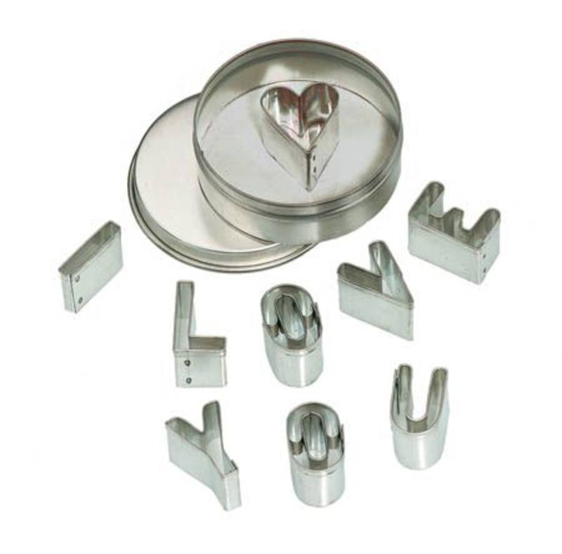 Mini Cookie Cutter Set - 'I love you' in Metal Box pk of 6 price per set SO