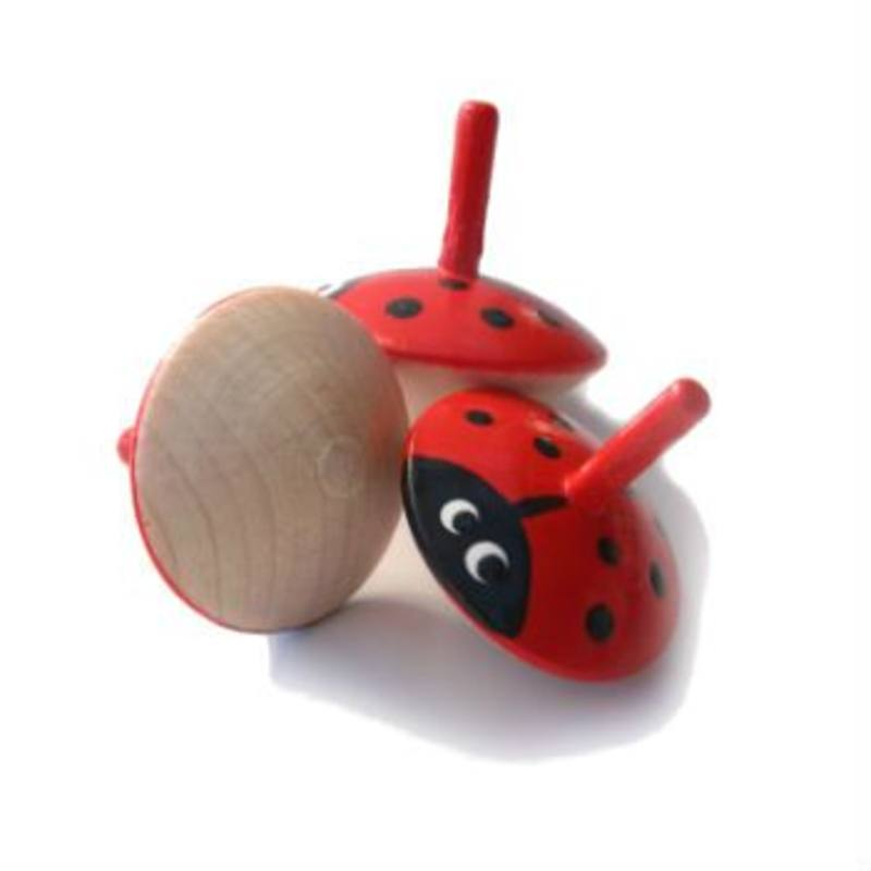 Grunspecht Wooden Spinning Top - Ladybird 35mm