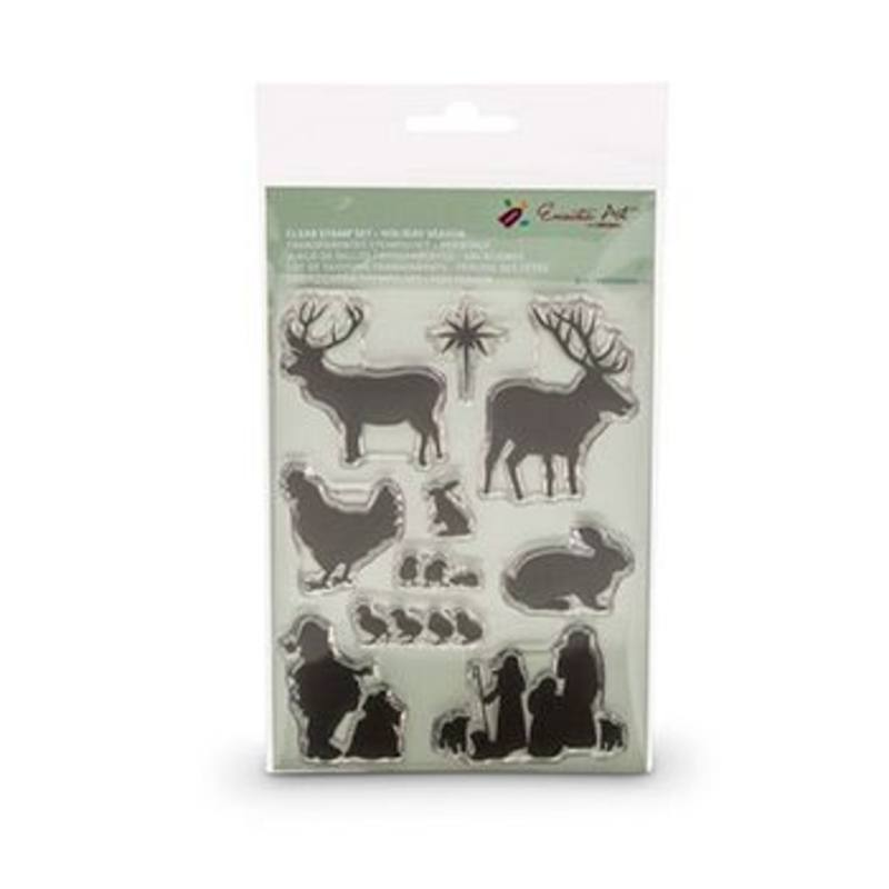 Encaustic Hot Wax Art Clear Stamp Set Holiday Seasons