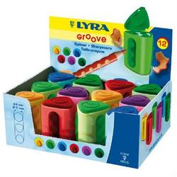 Buy Lyra Twin-hole Triangular Shaped Colourful Pencil Sharpener pk of 12 in AU Australia.