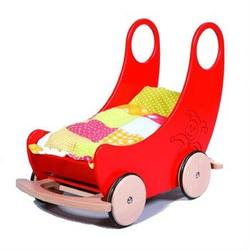 Buy Childrens Convertible Wooden Cradle and Pram - Red 60x38x60cm in AU Australia.
