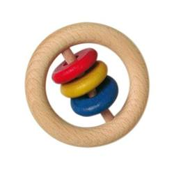 Buy Wooden rattle - 6cm ring w 3 discs small in AU Australia.
