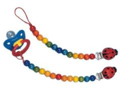 Buy Wooden dummy chain w ladybird clip - Rainbow in AU Australia.