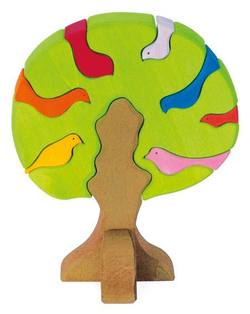 Buy Wooden Puzzle Blocks - Bird tree light green 23x19x11cm 9 pieces in AU Australia.