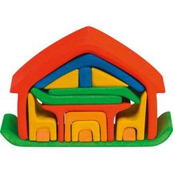Buy Gluckskafer Wooden Blocks - All-in house red 17 pcs 22x7x15cm in AU Australia.
