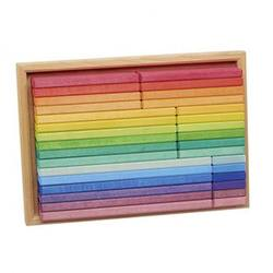 Buy Gluckskafer Wooden Blocks - Rainbow Building Slats in Tray 32 pcs in AU Australia.