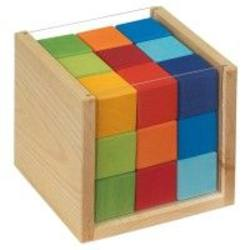 Buy Wooden Block Puzzle - Coloured Cubes in a Box 14x14x13 cm in AU Australia.