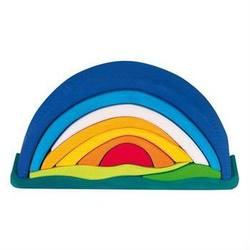 Buy Wooden Block Puzzle - Sunrise Rainbow Arch 10 pieces blue in AU Australia.