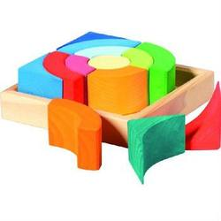 Buy Gluckskafer Wooden Blocks - Circular Squares w Tray (13pcs) in AU Australia.