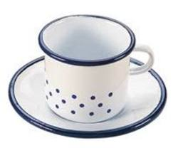 Buy Enamel cup and saucer 6x9cm in AU Australia.