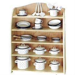 Buy Kitchen Display Shelf complete w Enamelware 74 pieces SO in AU Australia.