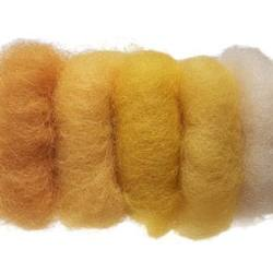 Buy Plant Dyed Wool Fleece Mixed Yellow Tones 50g - DUE FEB in AU Australia.
