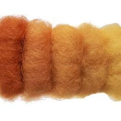 Buy Plant Dyed Wool Fleece Mixed Orange Tones 50g - DUE FEB in AU Australia.