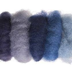 Buy Plant Dyed Wool Fleece Mixed Blue Tones 50g - DUE FEB in AU Australia.