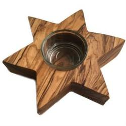 Buy Olive Wood Tealight Candle Holder - Star in AU Australia.
