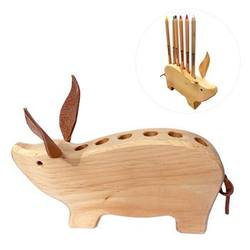 Buy Drei Blatter Wooden Pencil Holder Pig in AU Australia.