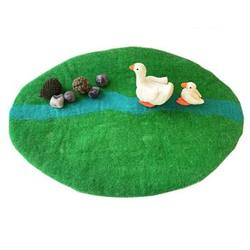 Buy Reversible Felted Wool Play Mat - Spring Green Meadow w Blue River in AU Australia.