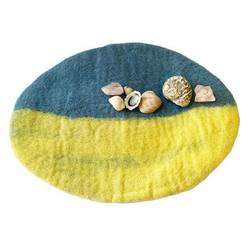Buy Reversible Felted Wool Play Mat - Summer Turquoise Ocean and Yellow Beach in AU Australia.