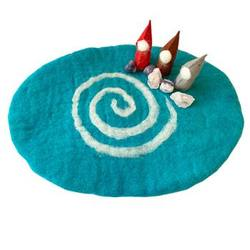 Buy Reversible Felted Wool Play Mat - Winter Pale Blue with White Spiral in AU Australia.