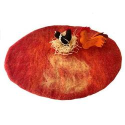 Buy Reversible Felted Wool Play Mat - Autumn Red Textured in AU Australia.